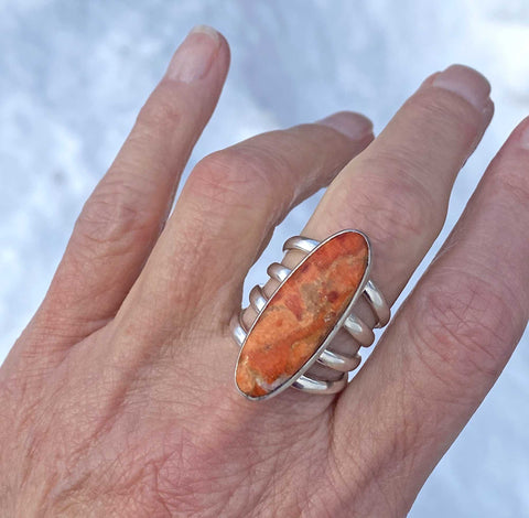 Vintage Orange Jasper Four Band Sterling Silver Ring