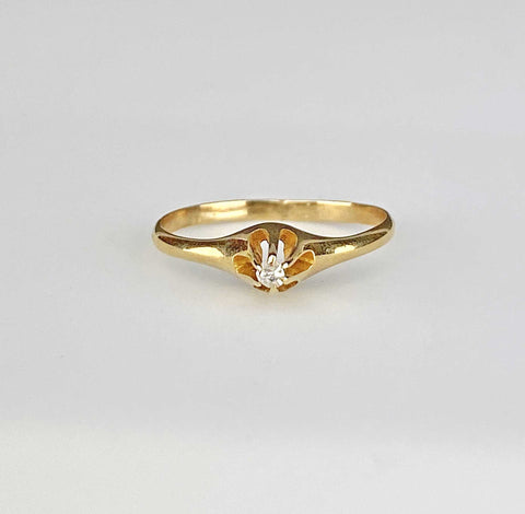 Retro 14K Gold Diamond Pink Tourmaline Ring