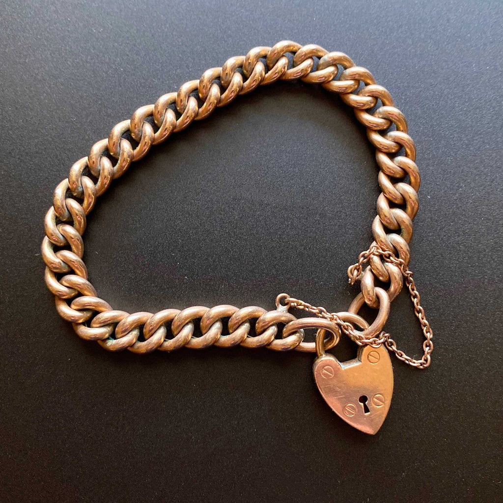 Antique Gold Heart Padlock Curb Chain Bracelet - ON HOLD - Boylerpf