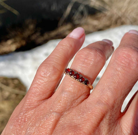 Victorian Five Stone Garnet Ring Band