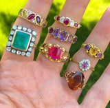 18K Gold Vintage Gemstone Band Ring - Boylerpf