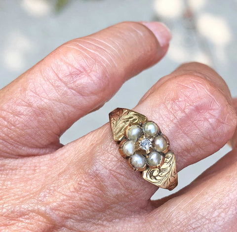 Secret Locket Antique Diamond Pearl Cluster Ring