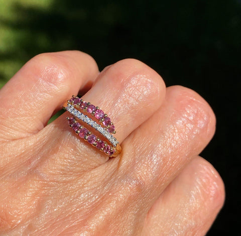 Pink Sapphire and Diamond English Gold Ring
