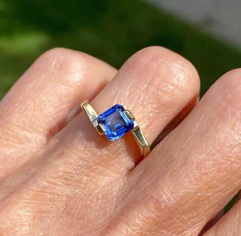 Mid-Century 1.5 CTW Emerald Cut Sapphire Ring - ON HOLD