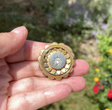 Victorian Gold Gilt Silver Rock Crystal Locket Brooch - Boylerpf