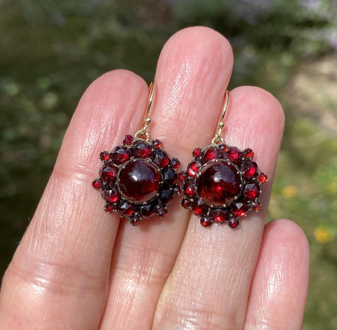 Victorian Bohemian Garnet 14K Gold Drop Earrings