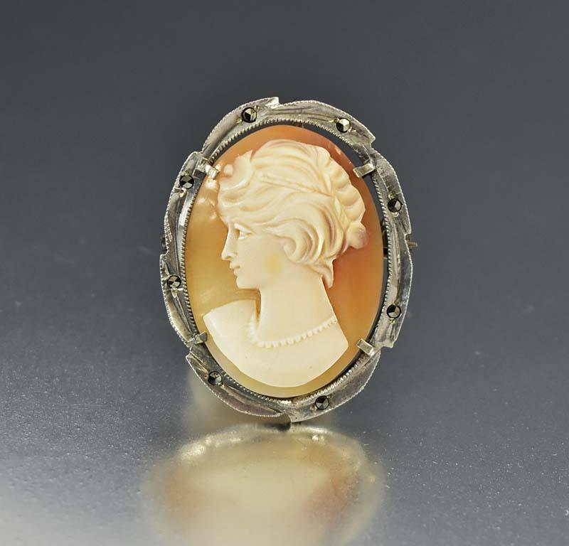 Silver Marcasite Shell Cameo Pendant Brooch - Boylerpf