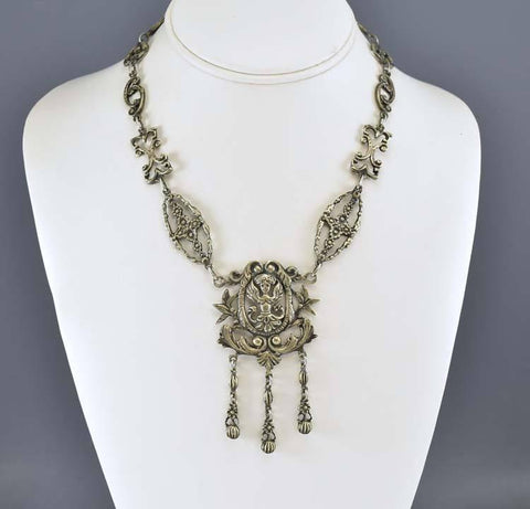 Gothic Victorian Italian Silver Peruzzi Necklace Coppini