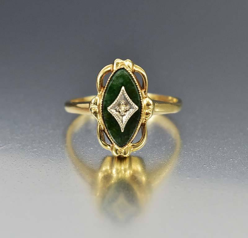 Art Deco 10K Gold Vintage Diamond Green Jade Ring - Boylerpf