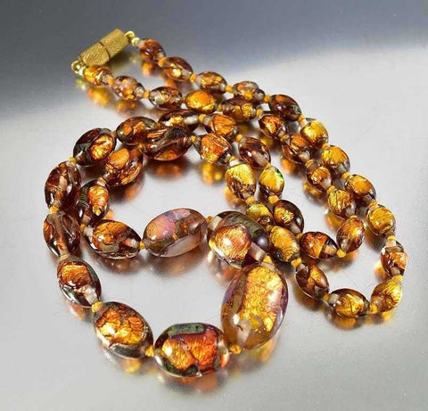 Bohemian Art Deco Foil Glass Bead Necklace