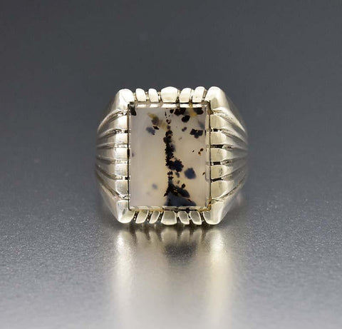 Dendritic Agate Silver Scorpion Zodiac Ring
