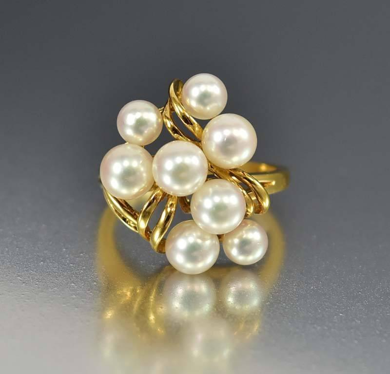 Mikimoto 18K Gold Akoya Cultured Pearl Cluster Ring - Boylerpf