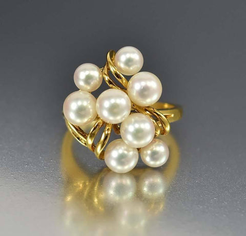 Mikimoto 18K Gold Akoya Cultured Pearl Cluster Ring