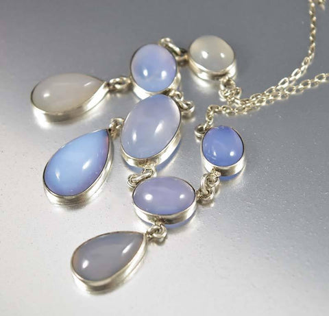 Edwardian Sterling Silver Moonstone Necklace
