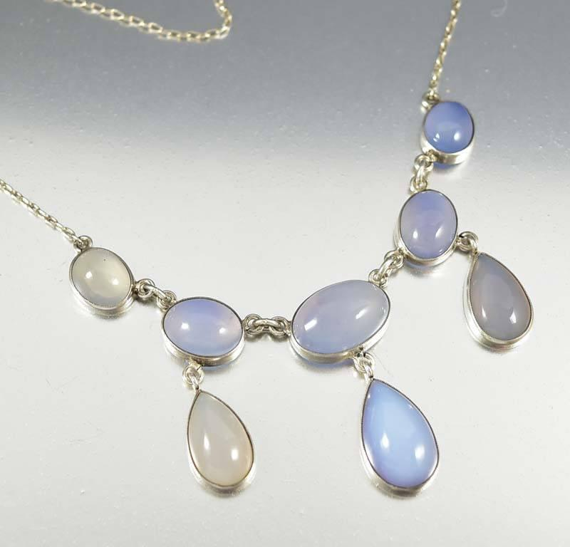 Edwardian Sterling Silver Moonstone Necklace - Boylerpf - 1