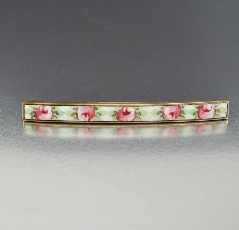 Antique Art Nouveau Enamel Bar Brooch - Boylerpf