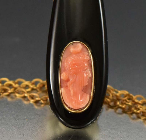 Edwardian  Coral Cameo Black Onyx Pendant Necklace
