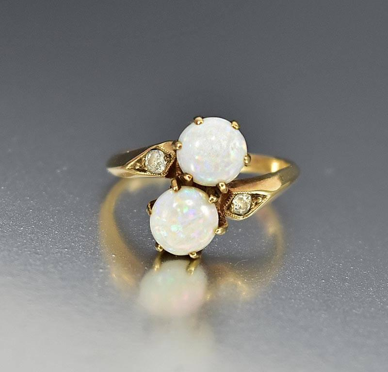 Antique Gold Diamond Toi et Moi Opal Engagement Ring - Boylerpf