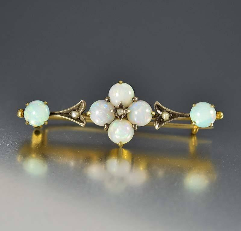 Antique Victorian Pearl Opal Brooch Bar Pin - Boylerpf