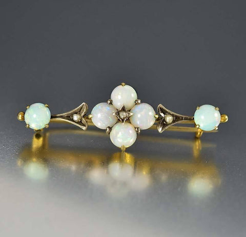 Antique Victorian Pearl Opal Brooch Bar Pin