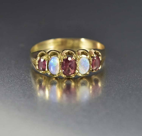 Edwardian Antique Gold Amethyst & Opal Band Ring