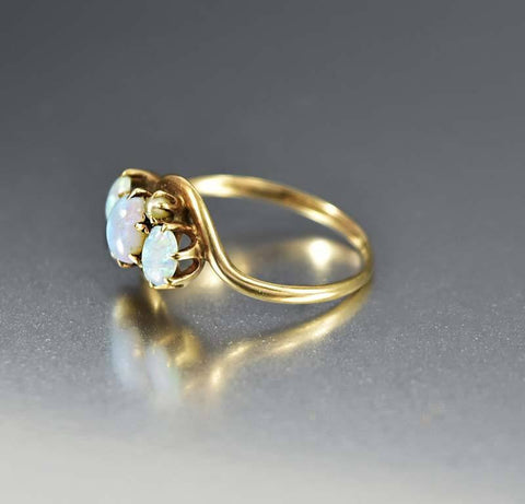 Gold Pearl Antique Three-Stone Opal Ring, Edwardian
