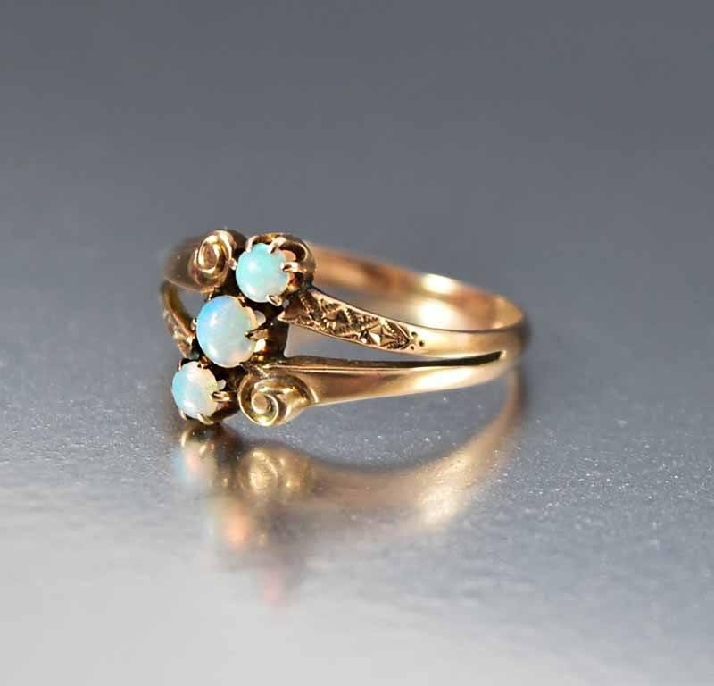 Antique Victorian Rose Gold Opal Ring Alternative Engagement Boylerpf