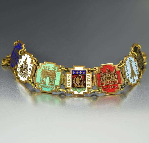Vintage Paris France Art Deco Enamel Bracelet