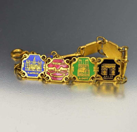 Art Deco Enamel Paris France Souvenir Bracelet