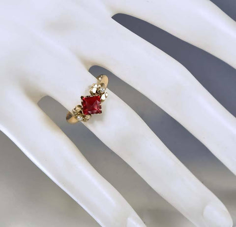 Victorian Gold Pearl Garnet Engagement Ring