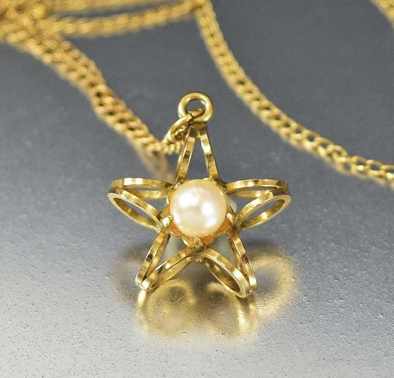Vintage cultured pearl gold star necklace boylerpf vintage cultured pearl gold star necklace mozeypictures Image collections