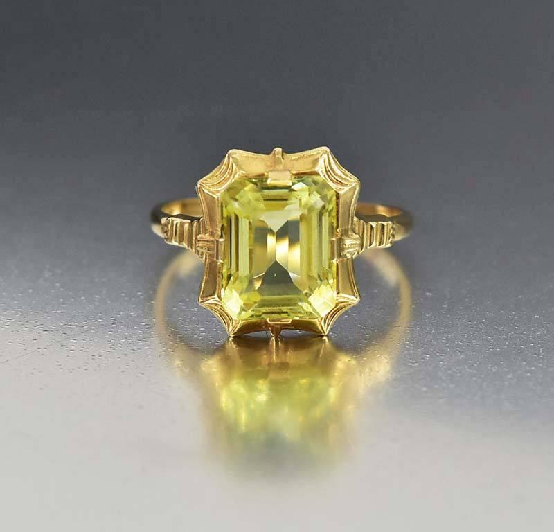 Vintage Art Deco 14K Gold Simulated Peridot Ring Esemco - Boylerpf
