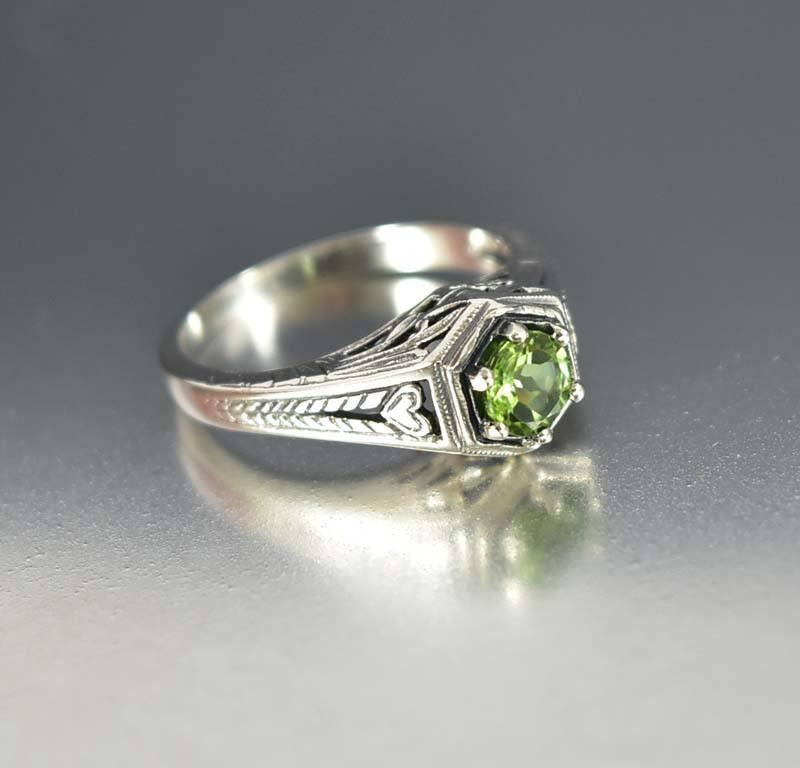 Sterling Silver Heart Peridot Engagement Ring Art Deco Style - Boylerpf