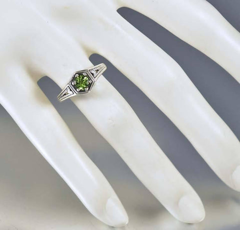Sterling Silver Heart Peridot Engagement Ring Art Deco Style