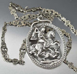Antique Sterling Peruzzi Necklace St George Slaying Dragon - Boylerpf