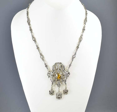 Victorian Silver Phoenix Citrine Peruzzi Necklace Coppini -ON HOLD