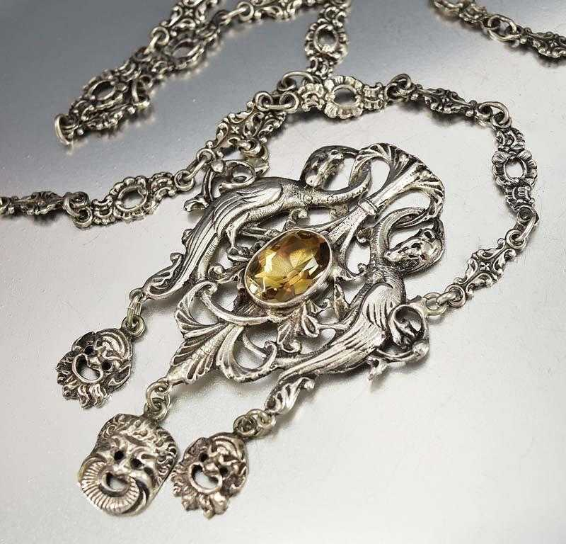 Victorian Silver Phoenix Citrine Peruzzi Necklace Coppini -ON HOLD - Boylerpf - 1