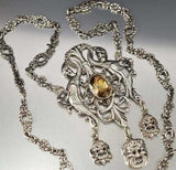 Victorian Silver Phoenix Citrine Peruzzi Necklace Coppini -ON HOLD - Boylerpf - 3