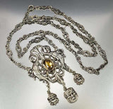 Victorian Silver Phoenix Citrine Peruzzi Necklace Coppini -ON HOLD - Boylerpf - 4