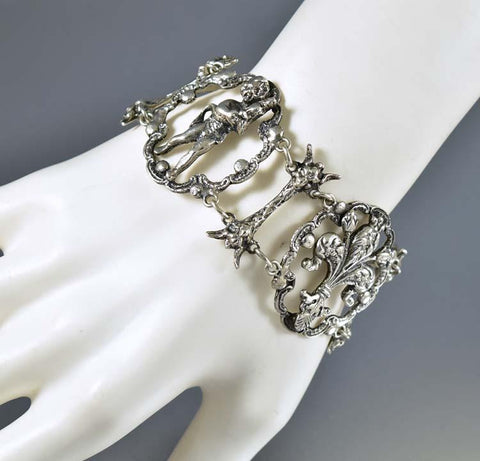 Antique Silver Mummy Cupid Peruzzi Bracelet