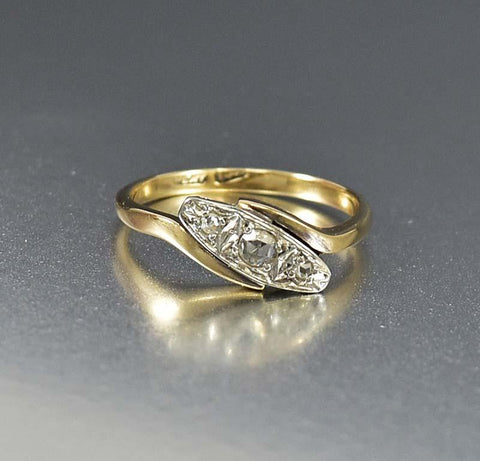 18K Gold and Platinum Deco Diamond Engagement Ring