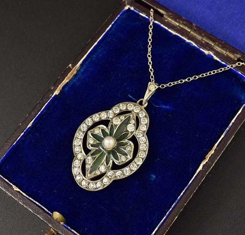 Art Nouveau Diamond Paste and Plique a Jour Pendant
