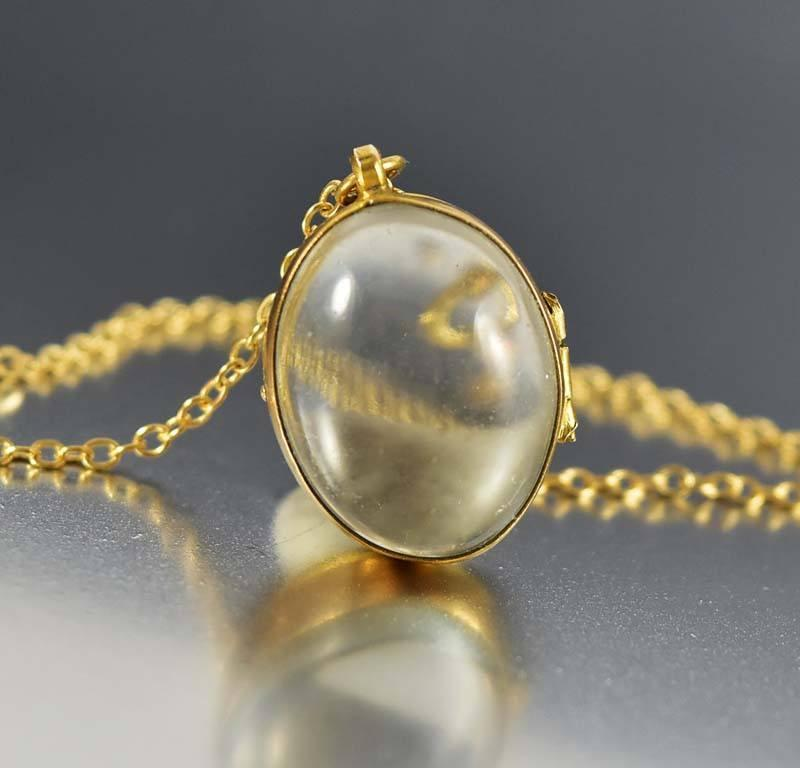 Antique Rock Crystal Pools of Light Locket Necklace - Boylerpf - 1