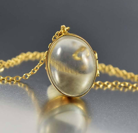 Antique Rock Crystal Pools of Light Locket Necklace ON HOLD