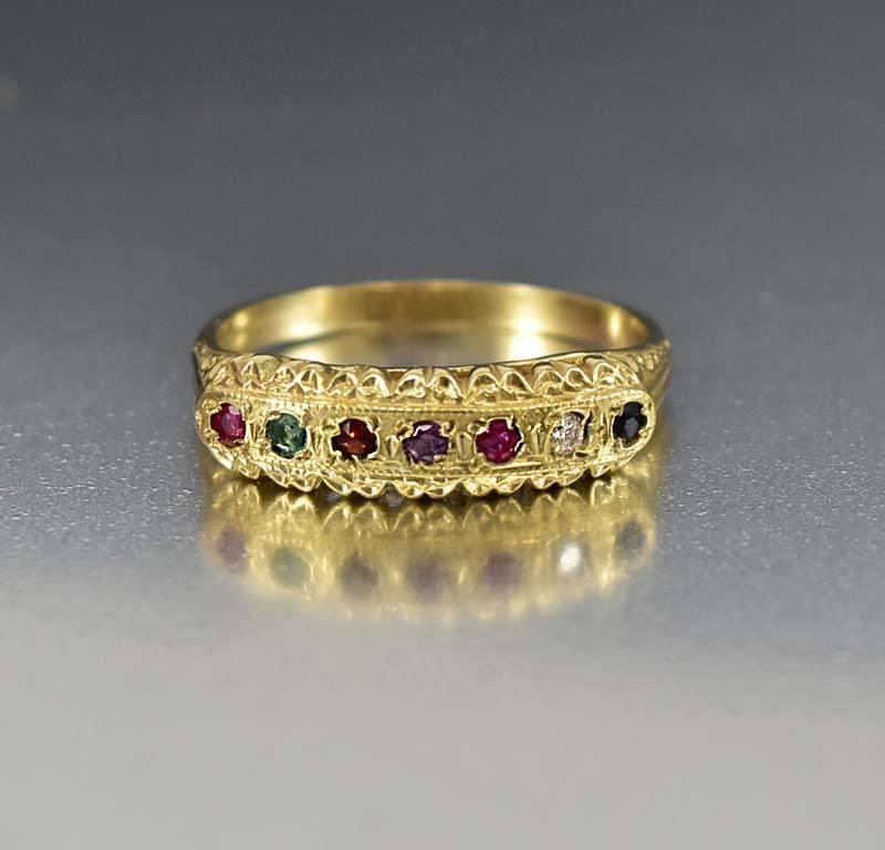 Regards Acrostic English Antique Victorian Gold Ring - Boylerpf