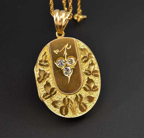 Magnificent Antique Gold and Silver Rock Crystal Locket
