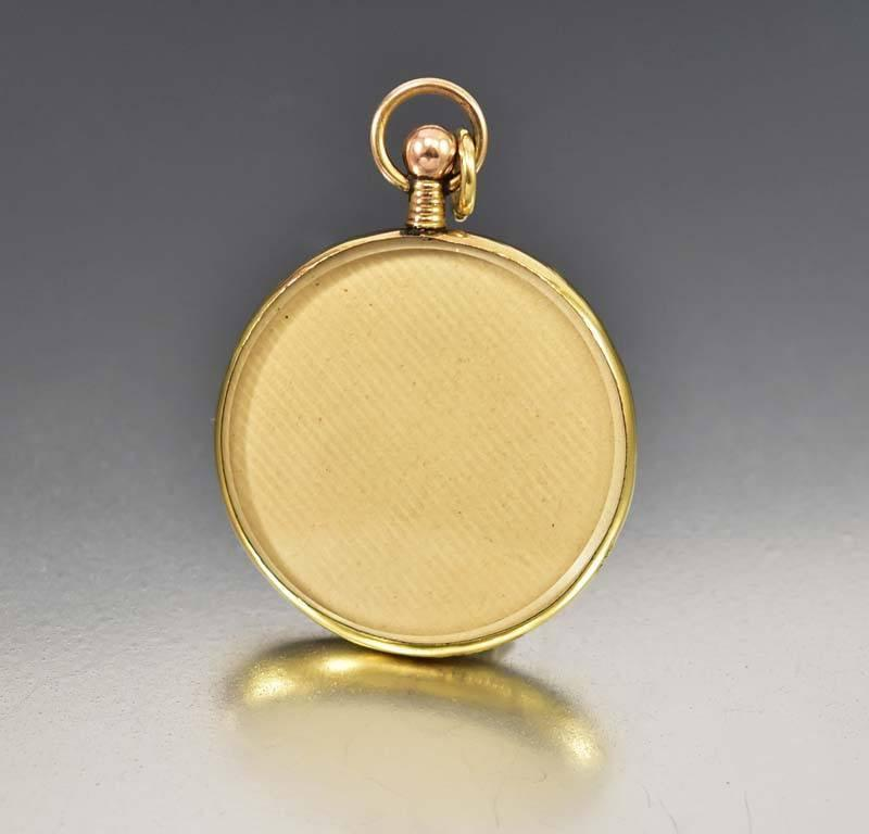 Antique Edwardian Glass Rolled Gold Locket Pendant - Boylerpf - 1