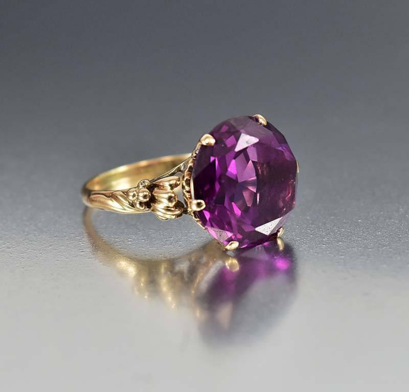 Alexandrite Class Ring Gold Vintage 14K Gold Color...