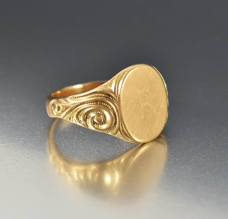 Antique Art Nouveau 14K Rose Gold Signet Ring - Boylerpf