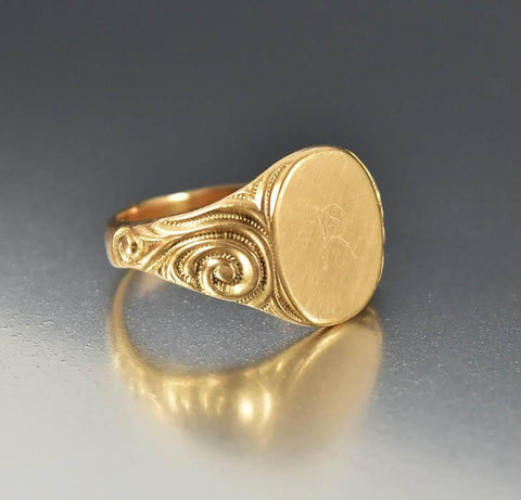 Antique Art Nouveau 14K Rose Gold Signet Ring